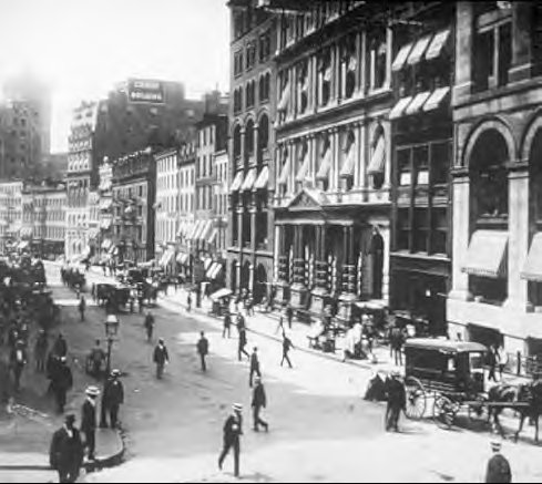 Wall Street in the early 1800s, before the invention of the telegraph
